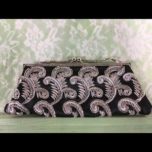 Handbags - Black & Silver Beaded Evening Bag